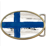 Finland Grunge Finnish Flag Belt Buckle. Code A0026